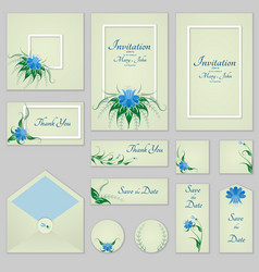 Collection greeting cards with stylized bells and vector