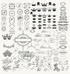 Collection of calligraphic flourishes crowns vector