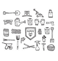 Collection of garden doodle sketch elements vector image