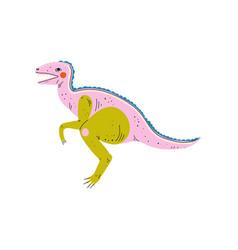 colorful velociraptor dinosaur cute prehistoric vector image