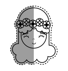 contour happy face woman with flower in the head vector image
