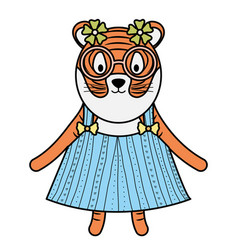 Cute female tiger childish character vector
