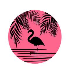 cute pink flamingo icon vector image