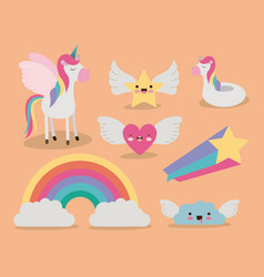 cute set fantasy elements unicorn rainbow cloud vector image