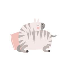cute zebra animal sleeping on pillow vector image