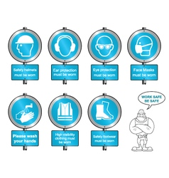 Cyan Health and safety signposts and text vector