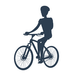 Dark silhouette of cyclist vector