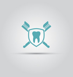 dental clinic emblem with shield icon vector image