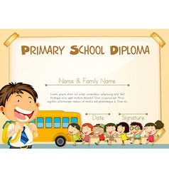 Diploma template with children and schoolbus vector image