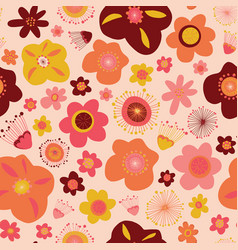 Doodle flowers seamless pattern background vector