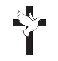 Dove flying with a symbol religion cross dove vector