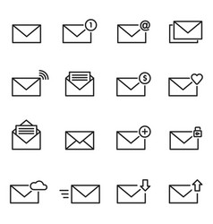 Email envelope line icon set message vector