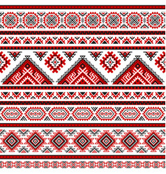ethnic seamless pattern with black white red color vector image