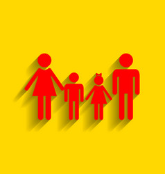 family sign red icon with soft shadow on vector image vector image