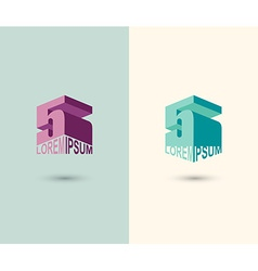Figure 5 logo 3D figure five Icon Concept design vector image