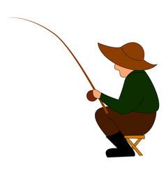 fisherman fishing on white background vector image