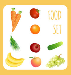fruits and vegetables realistic set vector image