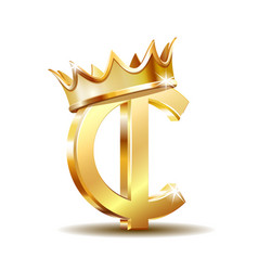 ghana cedi currency symbol with golden crown gold vector image