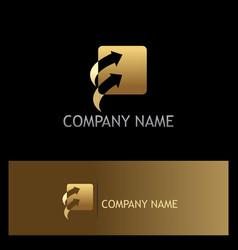 gold square arrow logo vector image