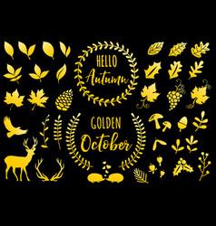Golden autumn icons set vector