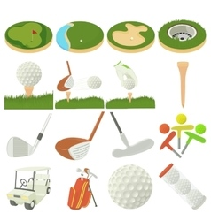 Golf items icons set cartoon style vector image
