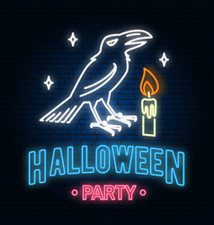 halloween party neon sign or emblem vector image
