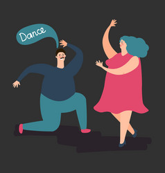 happy plump woman and man dance cute fat vector image