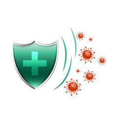Healthcare medical shield protecting virus to vector