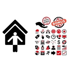 House Owner Wellcome Flat Icon with Bonus vector