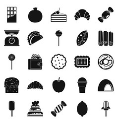 Ice cream parlor icons set simple style vector