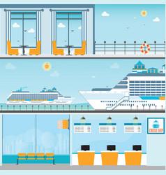 Info cruise ship terminal at sea port vector