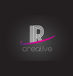 Ir i r letter logo with lines design and purple vector