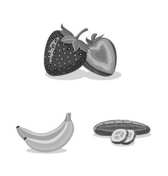 Isolated object of vegetable and fruit symbol set vector