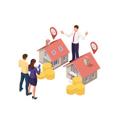 Isometric real estate agent with house model and vector