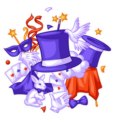 Magician background with magic items illusionist vector