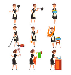 maid posing in different situations set housemaid vector image