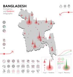 Map bangladesh epidemic and quarantine vector