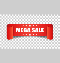 Mega sale ribbon icon discount sticker label on vector