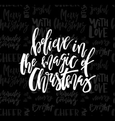 merry christmas card with calligraphy believe in vector image