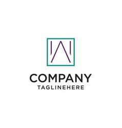 minimalist w logo inside square shape vector image