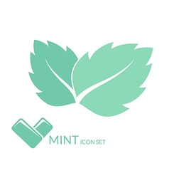Mint Chewing gum Isolated leaves on white vector image