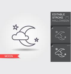 moon night line icon with editable stroke vector image