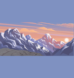 Mountains landscape abstract lilac panoramic view vector
