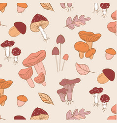 mushrooms pattern modern brown orange vector image
