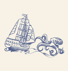 octopus monster sketch sailboat vintage medieval vector image
