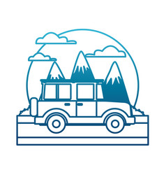 Off road sport truck between mountains landscape vector
