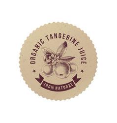 organic tangerine juice paper emblem vector image
