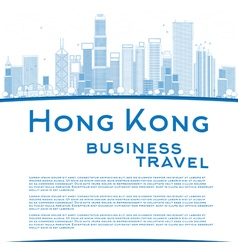 Outline Hong Kong skyline with blue buildings vector