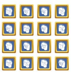 Pants pockets design icons set blue square vector