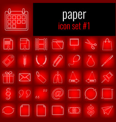 paper icon set 1 white line icon on red gradient vector image